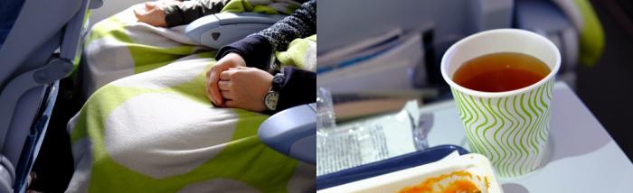 機内の毛布や紙コップはフィンランドの代表的なテキスタイル・ブランド、マリメッコ。