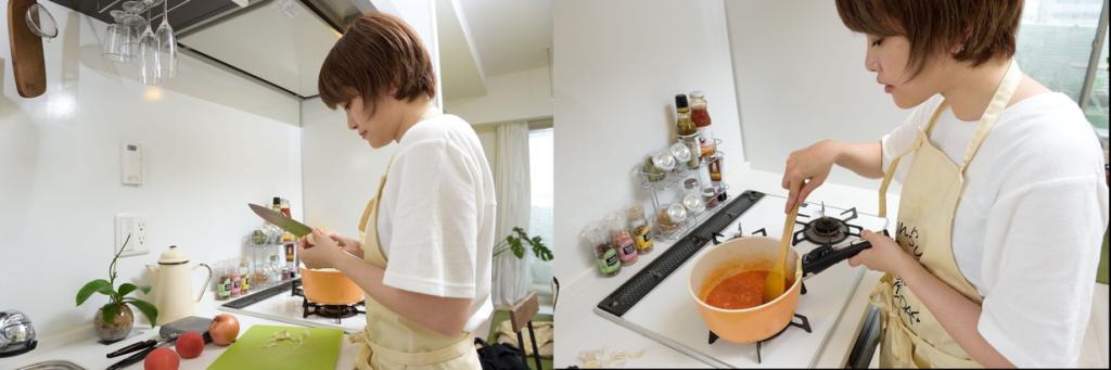オリーブオイルをたっぷり使ってトマトソースを作る風森さん。 「このソースならパスタにオイルをからめる手間が省けるので、外に持っていくのもおすすめ」